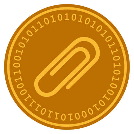 Attach Paperclip golden digital coin icon. Vector style is a gold yellow flat coin cryptocurrency symbol. Illustration