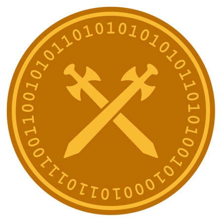 Medieval Swords golden digital coin icon. Vector style is a gold yellow flat coin cryptocurrency symbol. Vectores
