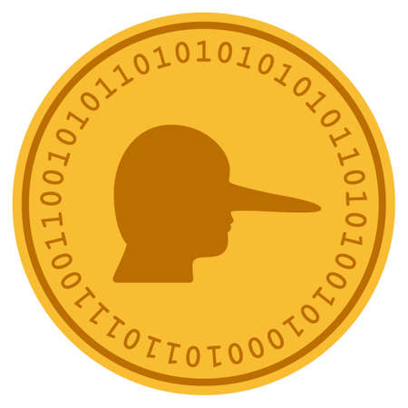 Scammer golden digital coin icon. Vector style is a gold yellow flat coin cryptocurrency symbol.