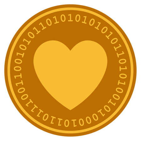 Love Heart golden digital coin icon. Vector style is a gold yellow flat coin cryptocurrency symbol.
