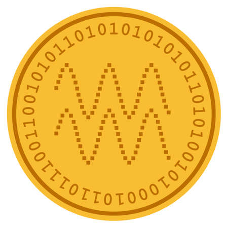 Golven gouden digitale munt pictogram. Vectorstijl is een goudgeel plat cryptocurrency-symbool. Stock Illustratie