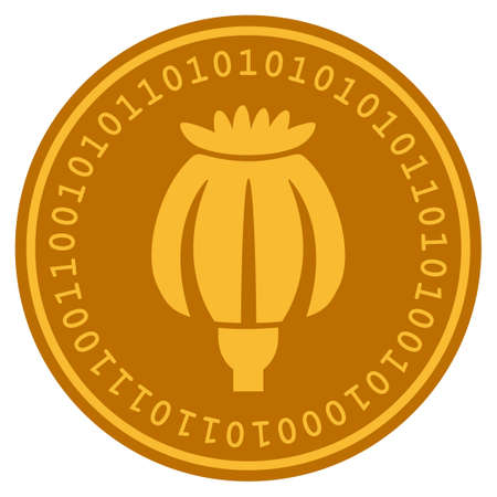 Opium Poppy golden digital coin icon. Vector style is a gold yellow flat coin cryptocurrency symbol.