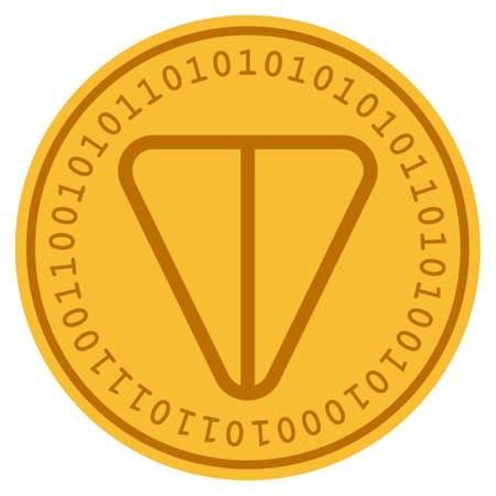 Ton Currency golden digital coin icon. Vector style is a gold yellow flat coin cryptocurrency symbol. Çizim