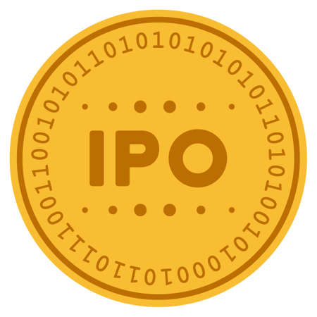 IPO Caption golden digital coin icon. Vector style is a gold yellow flat coin cryptocurrency symbol.