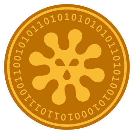 Virus golden digital coin icon. Vector style is a gold yellow flat coin cryptocurrency symbol. Illustration