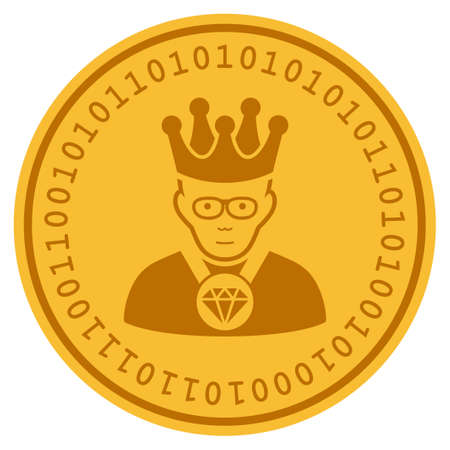Emperor golden digital coin icon. Vector style is a gold yellow flat coin cryptocurrency symbol.