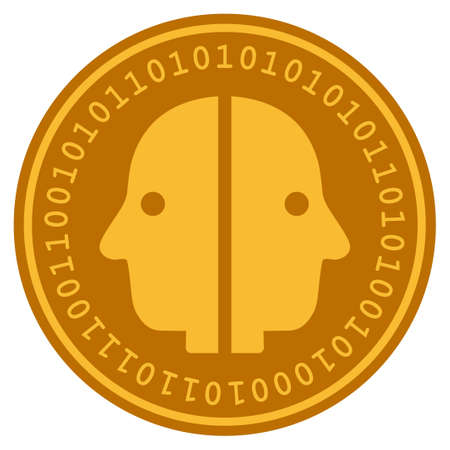 Dual Face golden digital coin icon. Vector style is a gold yellow flat coin cryptocurrency symbol. Çizim