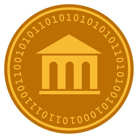 Museum Building golden digital coin icon. Vector style is a gold yellow flat coin cryptocurrency symbol.