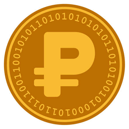 Russian Rouble golden digital coin icon. Vector style is a gold yellow flat coin cryptocurrency symbol.