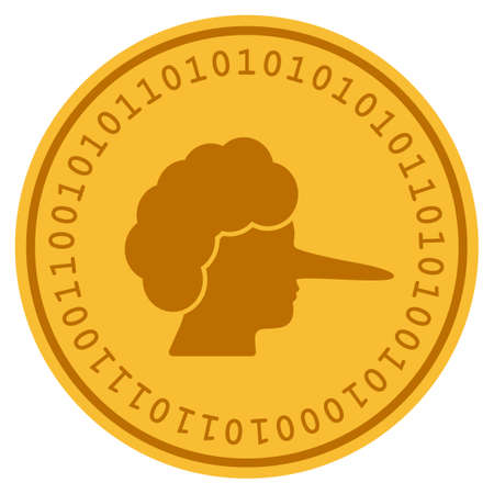 Lier golden digital coin icon. Vector style is a gold yellow flat coin cryptocurrency symbol. Illustration