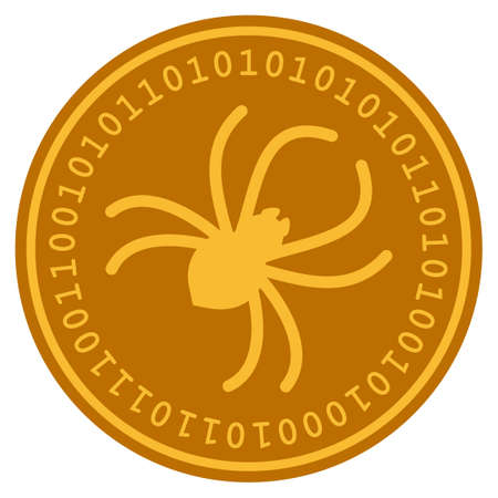 Parasite Spider golden digital coin icon. Vector style is a gold yellow flat coin cryptocurrency symbol. 向量圖像