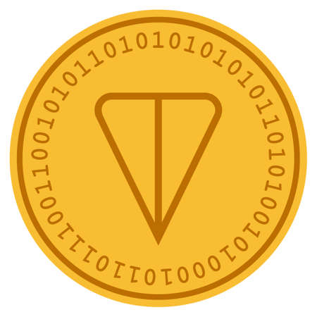 Ton Currency golden digital coin icon. Vector style is a gold yellow flat coin cryptocurrency symbol. 일러스트