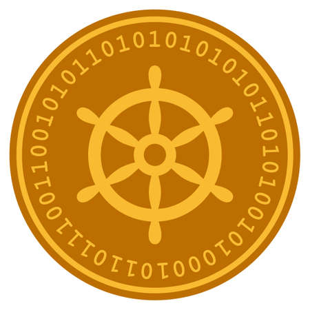 Boat Steering Wheel golden digital coin icon. Vector style is a gold yellow flat coin cryptocurrency symbol. Иллюстрация