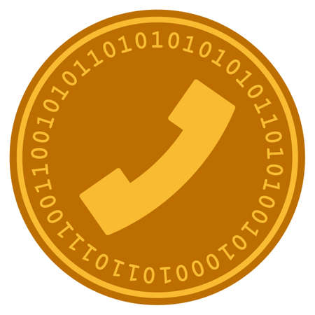 Phone Receiver golden digital coin icon. Vector style is a gold yellow flat coin cryptocurrency symbol.