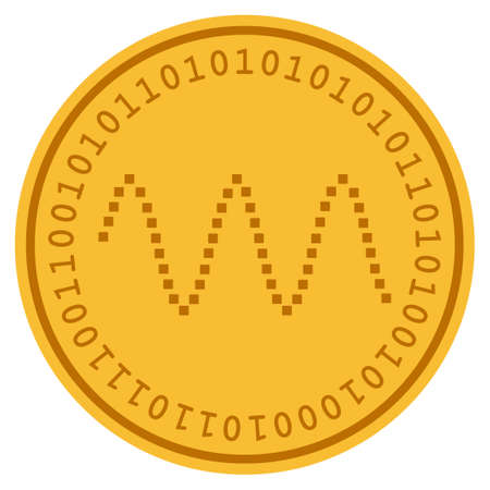 Waves Sinusoid golden digital coin icon. Vector style is a gold yellow flat coin cryptocurrency symbol.
