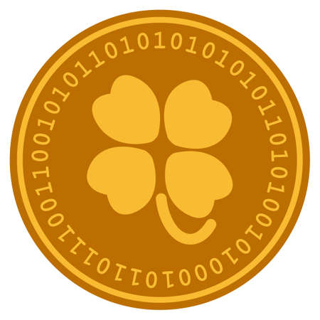 Four-Leafed Clover golden digital coin icon. Vector style is a gold yellow flat coin cryptocurrency symbol. Illustration