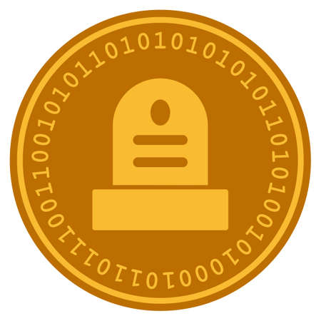 Grave golden digital coin icon. Vector style is a gold yellow flat coin cryptocurrency symbol. 일러스트