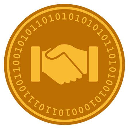 Acquisition Handshake golden digital coin icon.
