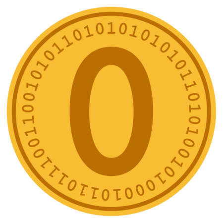 Zero golden digital coin icon. Raster style is a gold yellow flat coin cryptocurrency symbol. Stok Fotoğraf - 95060958
