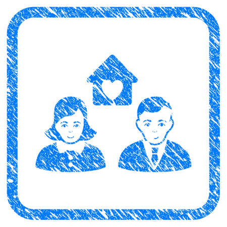 People Marriage rubber seal stamp imitation. Icon vector symbol with grunge design and dirty texture in rounded square. Scratched blue sign on a white background.