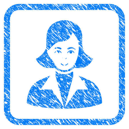 Lady rubber seal stamp imitation. Icon vector symbol with grunge design and dirty texture in rounded square. Scratched blue sticker on a white background.