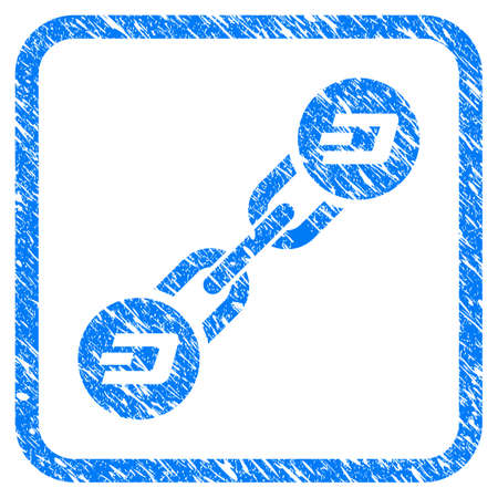 Dash Blockchain rubber seal stamp imitation. Icon vector symbol with grunge design and corrosion texture in rounded rectangle. Scratched blue sticker on a white background.
