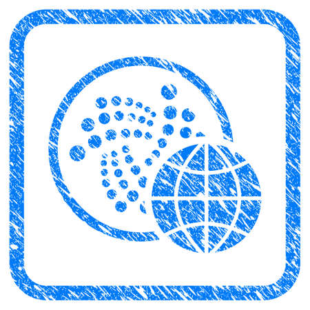 Iota Global rubber seal stamp imitation. Icon vector symbol with grunge design and dust texture in rounded square. Scratched blue emblem on a white background.
