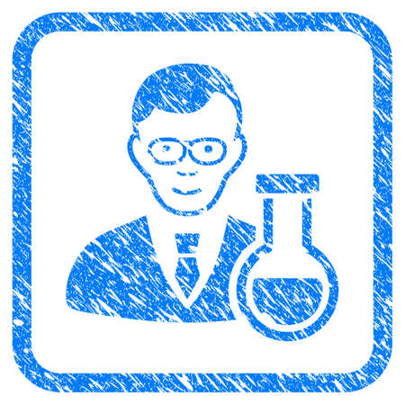 Chemist rubber seal stamp watermark. Icon vector symbol with grunge design and corrosion texture inside rounded square frame. Scratched blue sign on a white background.