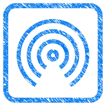 Airdrop Center rubber seal stamp watermark. Icon vector symbol with grunge design and dirty texture inside rounded square. Scratched blue stamp imitation on a white background. Vectores