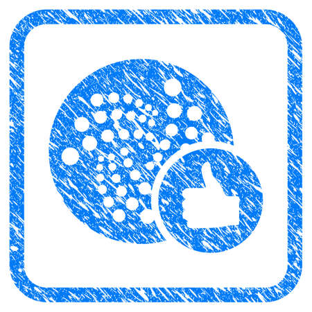 Thumb Up Iota rubber seal stamp watermark. Icon vector symbol with grunge design and dirty texture inside rounded frame. Scratched blue sign on a white background. Illustration