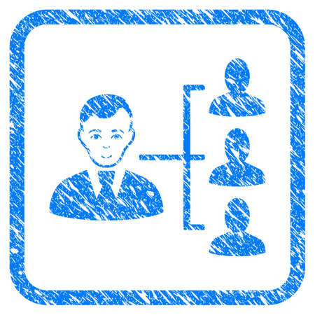 Distribution Manager rubber seal stamp watermark. Icon vector symbol with grunge design and corrosion texture in rounded rectangle. Scratched blue emblem on a white background.