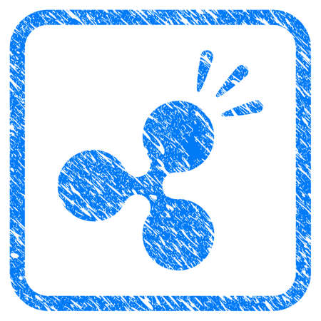 Ripple Shine rubber seal stamp watermark. Icon vector symbol with grunge design and dirty texture in rounded frame. Scratched blue sticker on a white background.