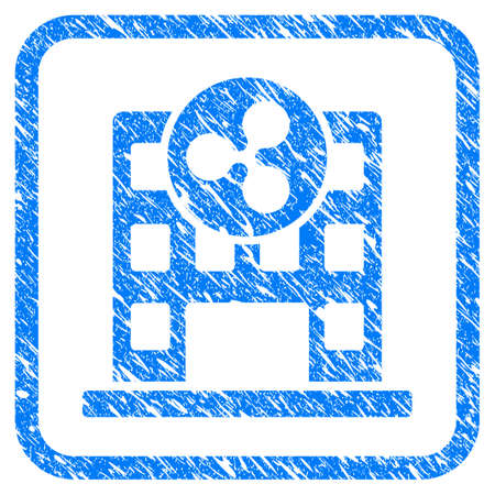 Ripple Corporation Building rubber seal stamp imitation. Icon vector symbol with grunge design and dust texture inside rounded squared frame. Scratched blue sticker on a white background. Illusztráció