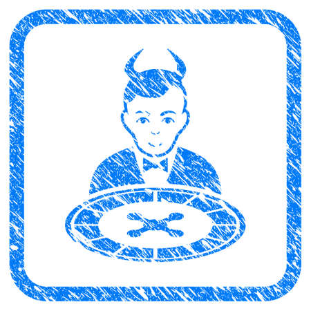 Devil Roulette Dealer rubber seal stamp imitation. Icon vector symbol with grunge design and corrosion texture inside rounded rectangle. Scratched blue emblem on a white background.