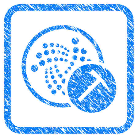 Iota Mining Hammer rubber seal stamp watermark. Icon vector symbol with grunge design and unclean texture in rounded squared frame. Scratched blue sticker on a white background.
