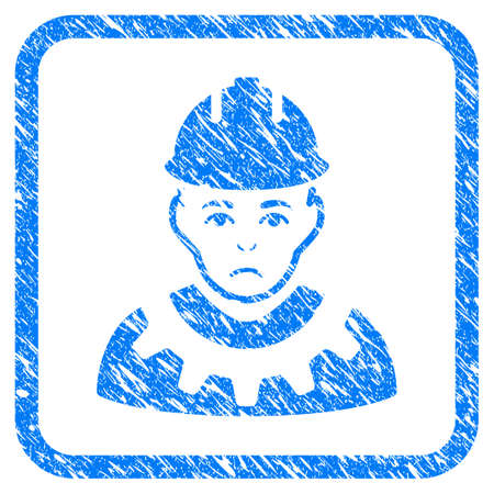 Serviceman rubber seal stamp watermark. Icon vector symbol with grunge design and unclean texture inside rounded frame. Scratched blue sign on a white background.