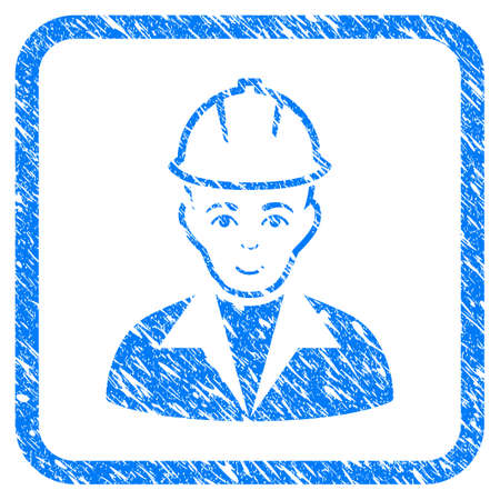 Engineer rubber seal stamp watermark. Icon vector symbol with grunge design and dirty texture in rounded frame. Scratched blue sign on a white background. Illustration