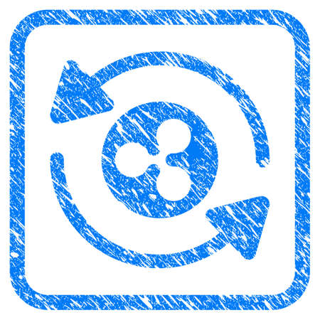 Refresh Ripple rubber seal stamp watermark. Icon vector symbol with grunge design and unclean texture inside rounded square. Scratched blue sign on a white background. Illustration