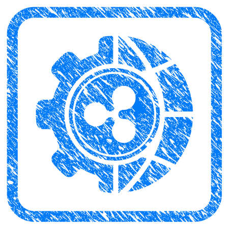 Ripple World Industry rubber seal stamp imitation. Icon vector symbol with grunge design and unclean texture in rounded frame. Scratched blue emblem on a white background.