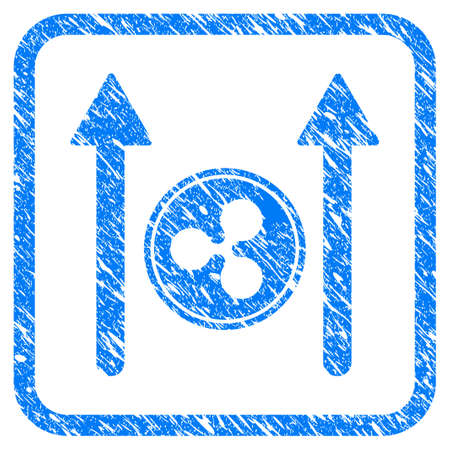Ripple Coin Send Arrows rubber seal stamp watermark. Icon vector symbol with grunge design and dirty texture in rounded frame. Scratched blue stamp imitation on a white background.