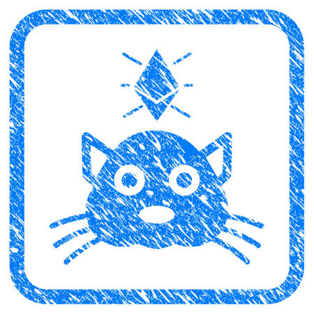 Ethereum Crypto Kitty rubber seal stamp imitation. Icon vector symbol with grunge design and corrosion texture inside rounded rectangle. Scratched blue stamp imitation on a white background.
