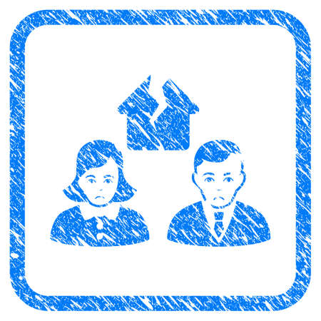 Divorce People rubber seal stamp imitation. Icon vector symbol with grunge design and dirty texture in rounded square frame. Scratched blue sticker on a white background.