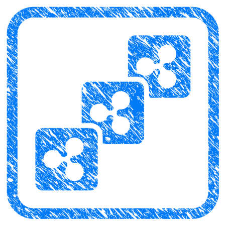 Ripple Block Chain rubber seal stamp watermark. Icon vector symbol with grunge design and unclean texture in rounded frame. Scratched blue sign on a white background.