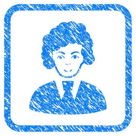 Clerk Woman rubber seal stamp Ilustração