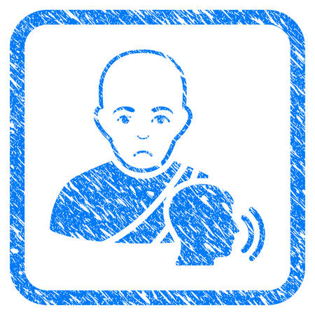Buddhist Confession rubber seal stamp imitation. Icon vector symbol with grunge design and dust texture in rounded square. Scratched blue sticker on a white background.