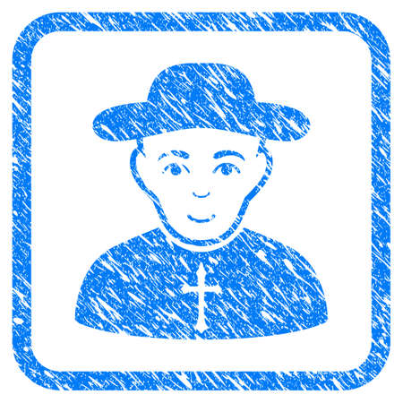 Christian Priest rubber seal stamp imitation. Icon vector symbol with grunge design and dirty texture in rounded squared frame. Scratched blue stamp imitation on a white background.
