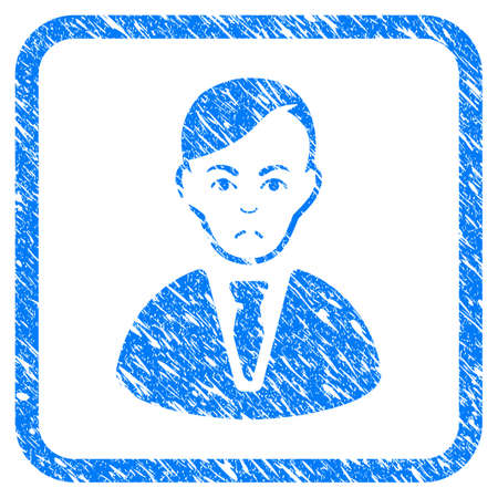 Businessman rubber seal stamp imitation. Icon vector symbol with grunge design and dirty texture in rounded squared frame. Scratched blue sticker on a white background.