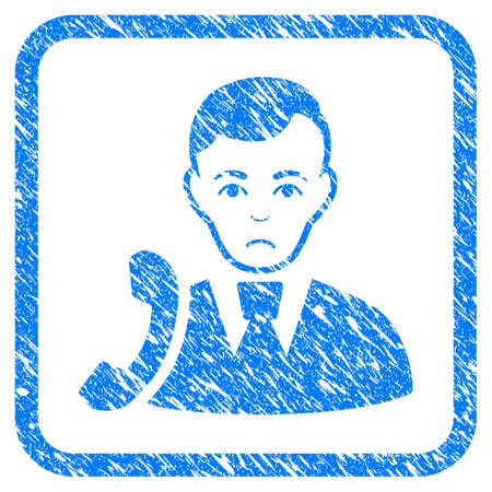 Call Manager rubber seal stamp watermark. Icon vector symbol with grunge design and dust texture inside rounded square frame. Scratched blue sign on a white background. Illustration