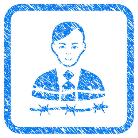 Businessman Arrest rubber seal stamp watermark. Icon vector symbol with grunge design and unclean texture inside rounded square. Scratched blue sign on a white background.