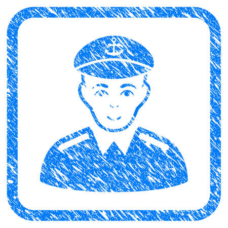 Captain rubber seal stamp imitation. Icon vector symbol with grunge design and corrosion texture in rounded rectangle. Scratched blue stamp imitation on a white background. Çizim